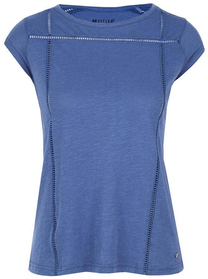 Купить Футболка женская Mustang Crochettape Tee, цвет: синий. 1005128-5309. Размер XL (50)