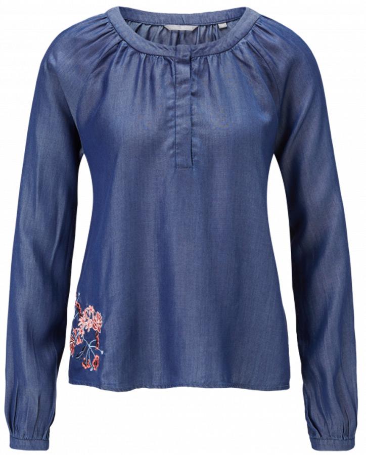 Блузка женская Mustang Denim Embro Blouse, цвет: синий. 1005095-5000-940. Размер 40 (46)1005095-5000-940Стильная блузка MUSTANG насыщенного цвета, декорированная вышивкой, изготовлена из 100% лиоцелла. Модель приталенного силуэта с длинными рукавами и потайными пуговицами на горловине станет удачным решением как повседневного, так и праздничного гардероба.
