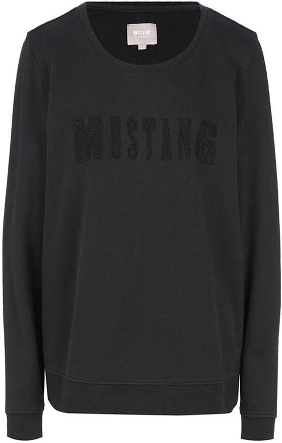 Толстовка женская Mustang Printed Sweatshirt, цвет: темно-синий. 1005405-4082. Размер XS (42) куртка mustang 1005148 4082