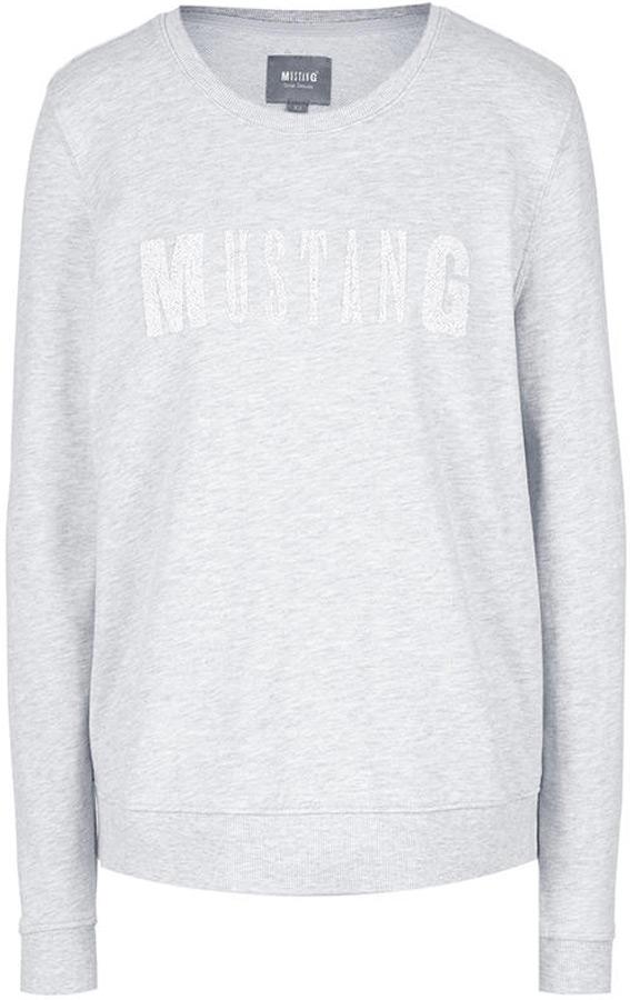 Толстовка женская Mustang Printed Sweatshirt, цвет: серый. 1005405-4141. Размер XS (42) chic shirt collar long sleeve bleach wash front pockets design ripped denim shirt for women