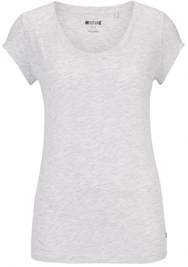 Футболка женская Mustang Basic T-Shirt, цвет: серый. 1005477-4141. Размер XS (42)1005477-4141Женская футболка от MUSTANG выполнена из хлопка и модала. Модель с короткими рукавами и круглым вырезом горловины.