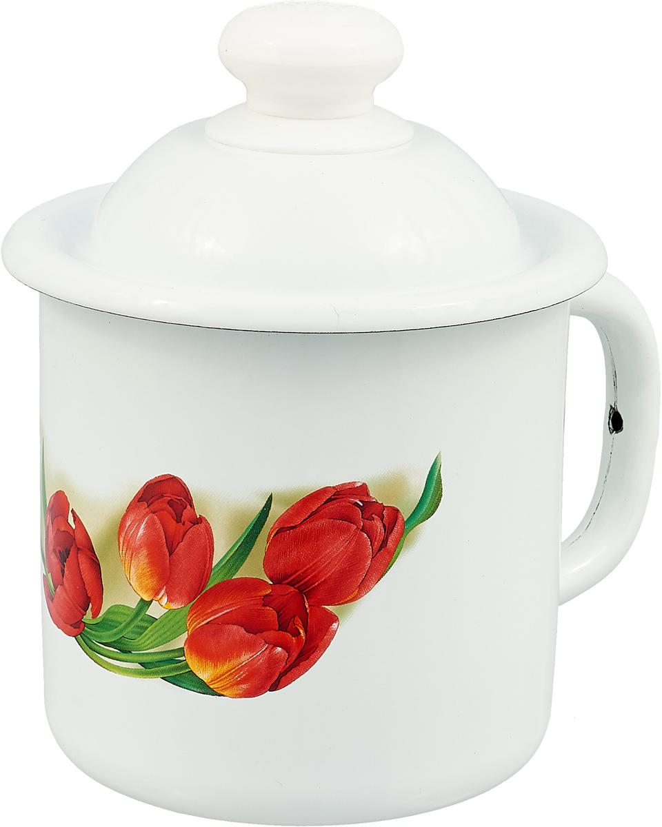 """Кружка эмалированная Эмаль """"Тюльпаны"""", с крышкой, 1 л"""