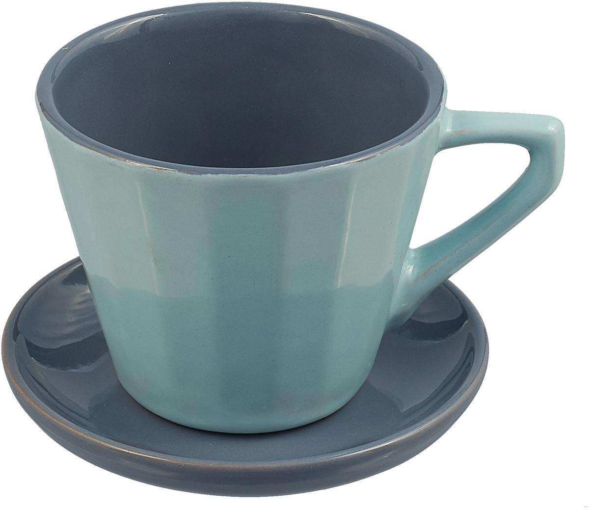 Чайная пара Борисовская керамика Ностальгия, цвет: серо-голубой, серый, 200 мл