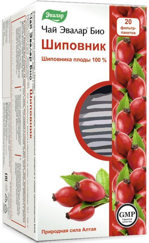 Чай Эвалар Био Шиповник, в фильтр-пакетах, 20 шт по 2,0 г4602242009511Эвалар БИО чай Шиповник. Шиповника плоды 100%. Шиповник содержит рекордное количество витамина С, он опережает даже черную смородину, причем в десять раз, а также лимон – в пятьдесят раз. Кроме того, ягоды шиповника являются отличным бактерицидным средством. Шиповник служит также для снятия воспаления, является хорошим мочегонным и желчегонным средством, улучшает функцию желудочно-кишечного тракта. Большим плюсом является то, что при всем этом не оказывает негативного воздействия на ткани почек. Содержащийся в шиповнике витамин С положительно влияет на большинство окислительно-восстановительных реакций организма. Ещё одним его плюсом является способность торможения отложений в кровеносных сосудах атероматозных масс, а также благодаря шиповнику уменьшается количество холестерина в крови и приостанавливается распространение заболевания атеросклерозом.Содержащийся в шиповнике каротин положительно сказывается на иммунитете организма, витамин К улучшает свертываемость крови и помогает в формировании протромбина, витамин Р укрепляет капилляры, а также помогает в наилучшем усваивании витамина С, витамины В2 и В1 воздействуют на кроветворные органы.Достоинства чаев Эвалар БИО100% натуральный состав. Большинство трав, входящих в состав, собираются на Алтае или выращиваются на собственных плантациях Эвалар в экологически чистых предгорьях Алтая без использования химикатов и пестицидов;Высокая микробиологическая чистота чаев обеспечивается мягким способом обработки – мгновенный пар - на современной французской установке;Для наилучшего сохранения целебных свойств, тонкого вкуса и аромата травяного чая каждый фильтр-пакет индивидуально упакован в многослойный защитный конверт. 1 фильтр-пакет (освободить из индивидуальной упаковки) залить1 стаканом кипятка (200мл), настоять 5-10 минут. Принимать взрослым и детям старше 14 лет по 1 стакану 2 раза в день до еды. Продолжительность приема - 20 дней. При необходимос