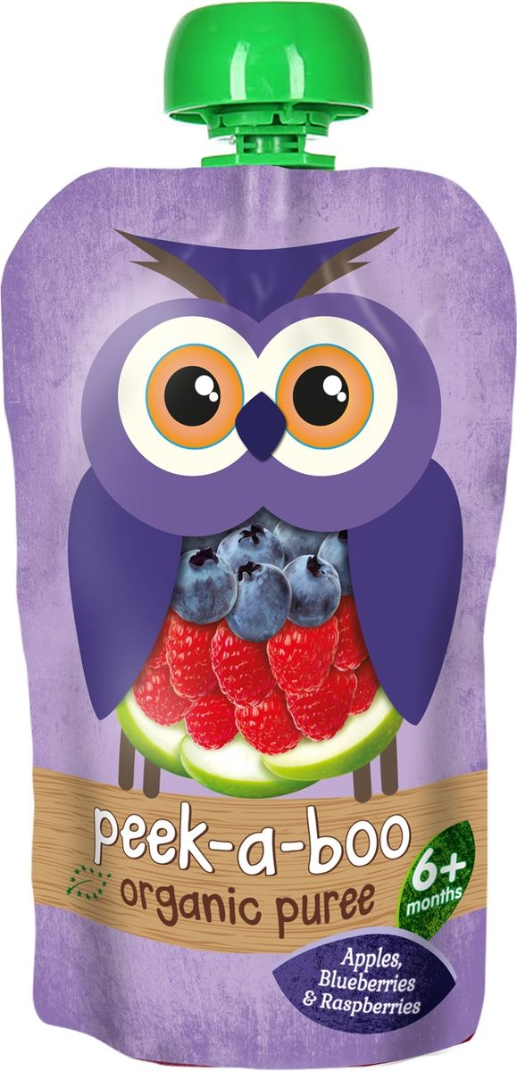 Peek-a-boo пюре органическое яблоко, малина, черника, с 6 месяцев, 113 г peek a boo пюре яблоко с 4 месяцев 113г
