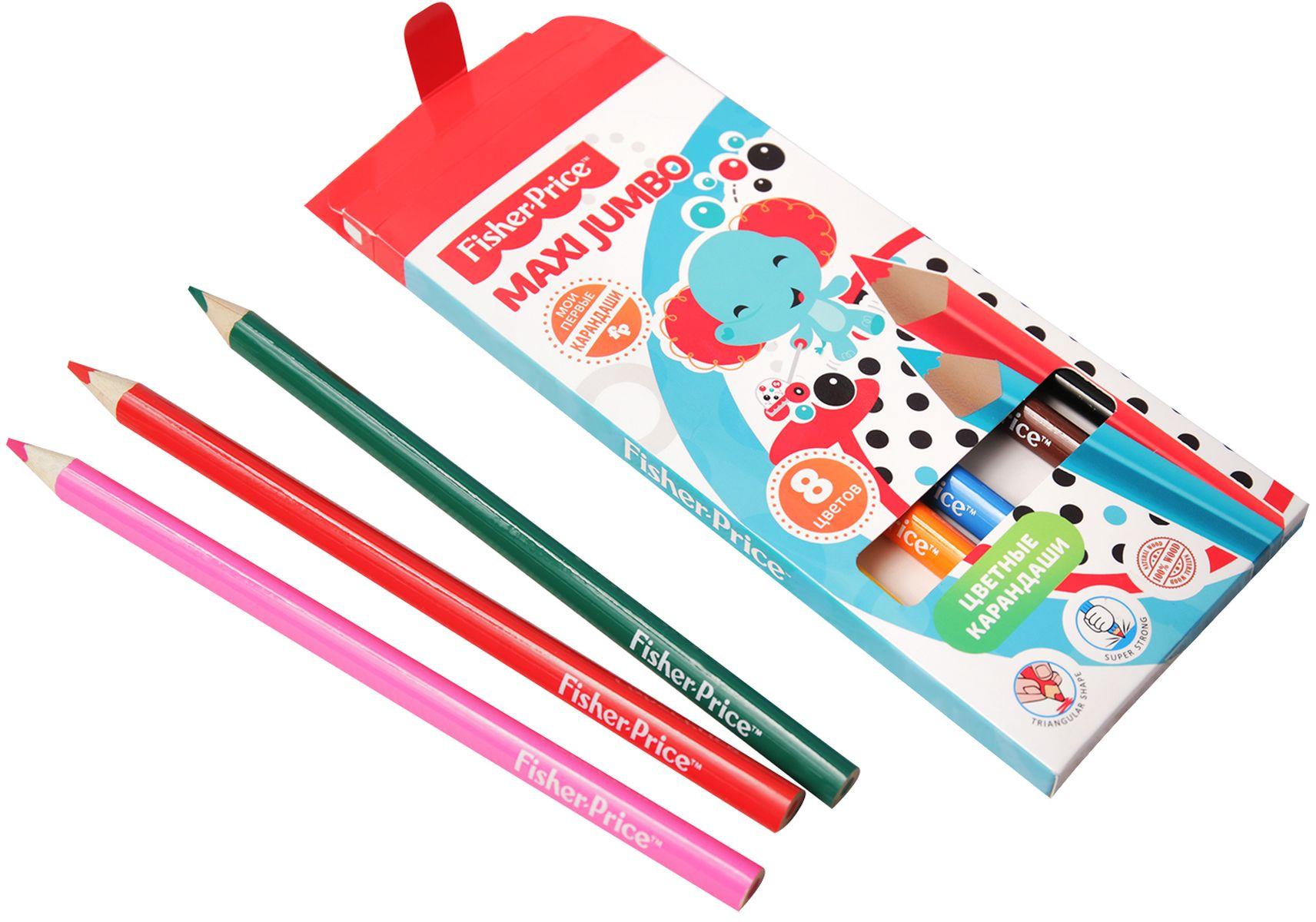 Mattel Набор цветных карандашей Maxi Jumbo Mattel Fisher Price 8 цветов карандаши bruno visconti набор карандашей цветных disney белоснежка 6 цветов