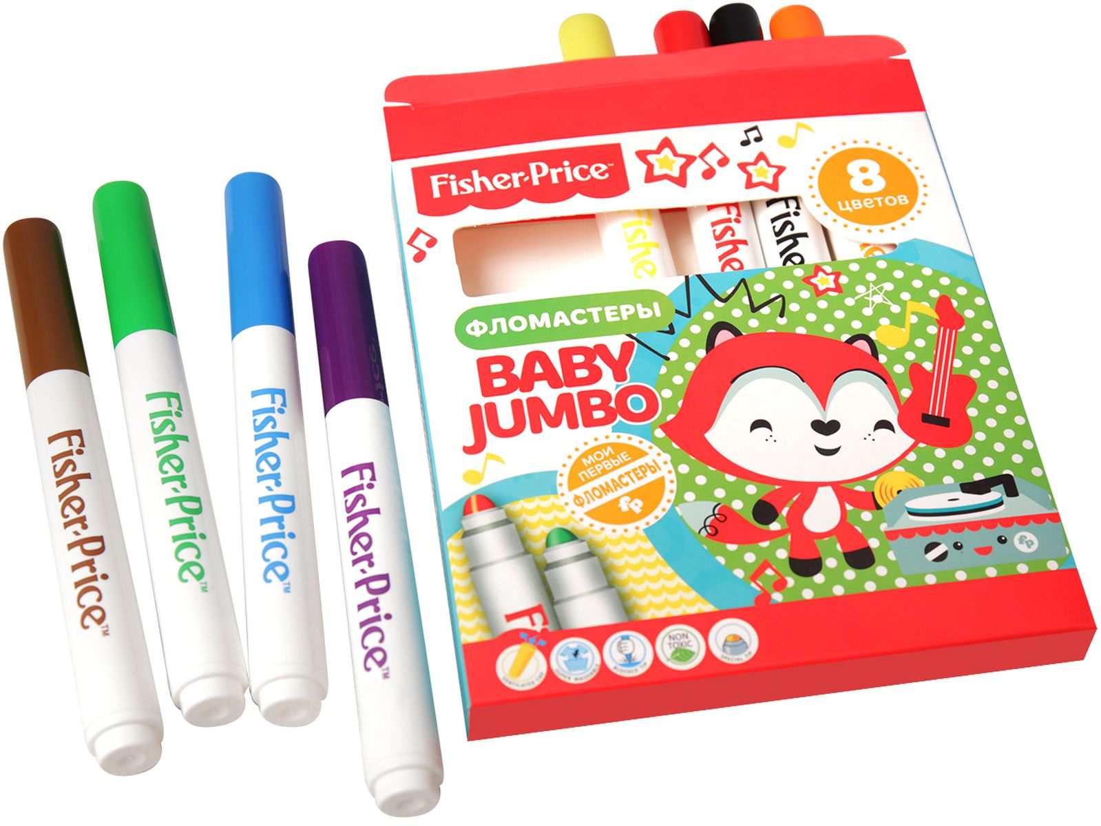 Mattel Набор детских фломастеров Baby Jumbo Mattel Fisher Price 8 цветов -  Фломастеры