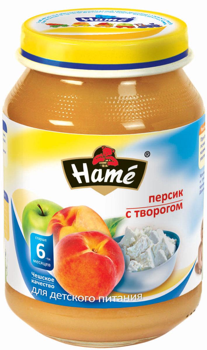 Hame персик с творогом фруктовое пюре, 190 г hame цыпленок мясное пюре 100 г