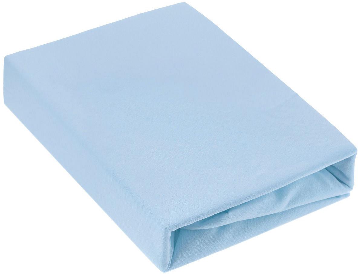Простыня на резинке ЭГО, цвет: голубой, 90 х 200 смЭ-ПР-01-36Трикотажная простыня ЭГО изготовлена из 100 % хлопка высокого качества. Натуральный, экологически чистый материал обеспечивает высокую гигиеничность изделия. Трикотаж имеет специальную структуру, образованную переплетением петель, что обеспечивает его растяжимость и эластичность. Наличие резинки позволяет легко зафиксировать простыню на матрасе. Она не сминается и не комкается во время сна. Трикотаж достаточно эластичен, поэтому изделия из него можно даже не гладить. Если простыня немного больше кровати, с помощью резинки ее можно подогнать под размер кровати, учитывая толщину матраса. Также ее можно использовать в качестве наматрасника. Резинка пришита по всему периметру простыни. Плотность 140 г/м2. Уход: машинная стирка при температуре 60°C. Не отбеливать.Высота матраса: до 25 см.