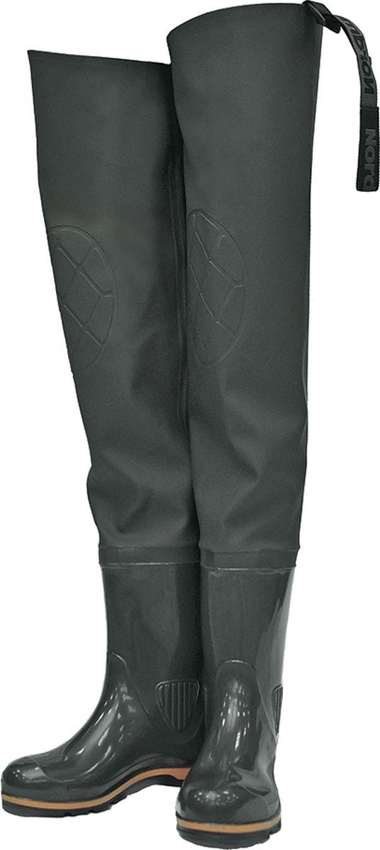 Сапоги рыбацкие мужские Nordman Z, с расширенным голенищем, цвет: оливковый. ps_15_3_r-081-44. Размер 44ps_15_3_r-081-44Мужские рыбацкие сапоги с расширенным голенищем Nordman Z имеют текстильный верх, выполненный из легкой водонепроницаемой ПВХ-ткани (винитол), крепится к базовому сапогу на современном итальянском оборудовании при помощи сварки током высокой частоты, что гарантирует абсолютную водонепроницаемость. Для надежной фиксации сапог имеется удобное приспособление для пристегивания к поясному ремню.