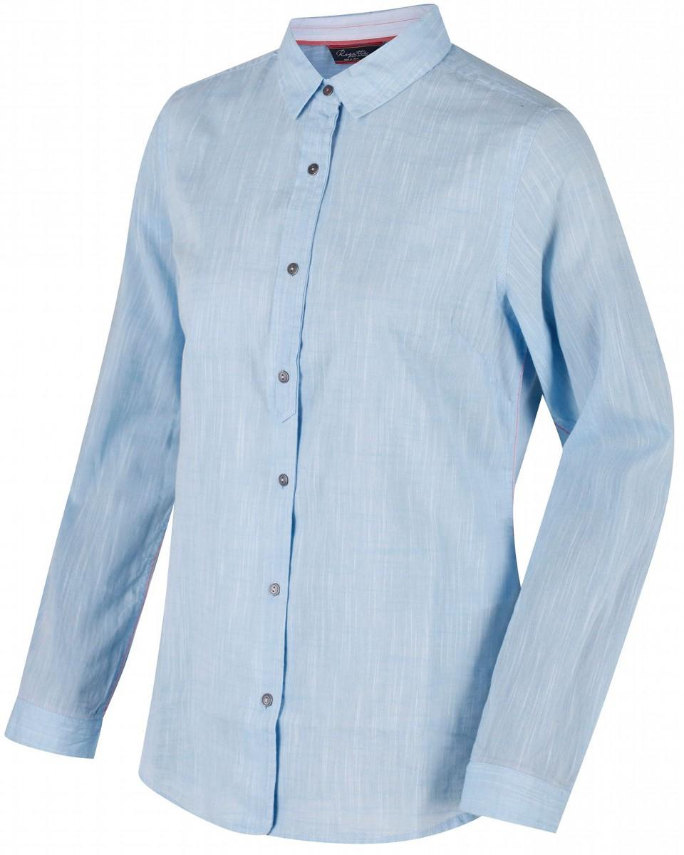 Рубашка женская Regatta Meena, цвет: голубой. RWS081-349. Размер 16 (48/50)RWS081-349Рубашка от Regatta выполнена из ткани Coolweave. Отделка контрастной тесьмой. Рубашка с длинными рукавами и отложным воротником спереди застегивается на пуговицы.
