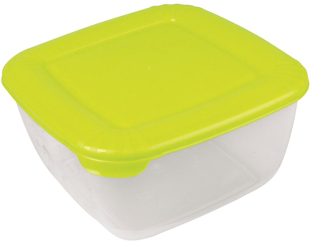 Контейнер пищевой Plast Team Polar, цвет: лайм, 1,5 л, 16,8 х 16,8 х 8,5 см контейнеры из полимеров migura контейнер 0 3 л