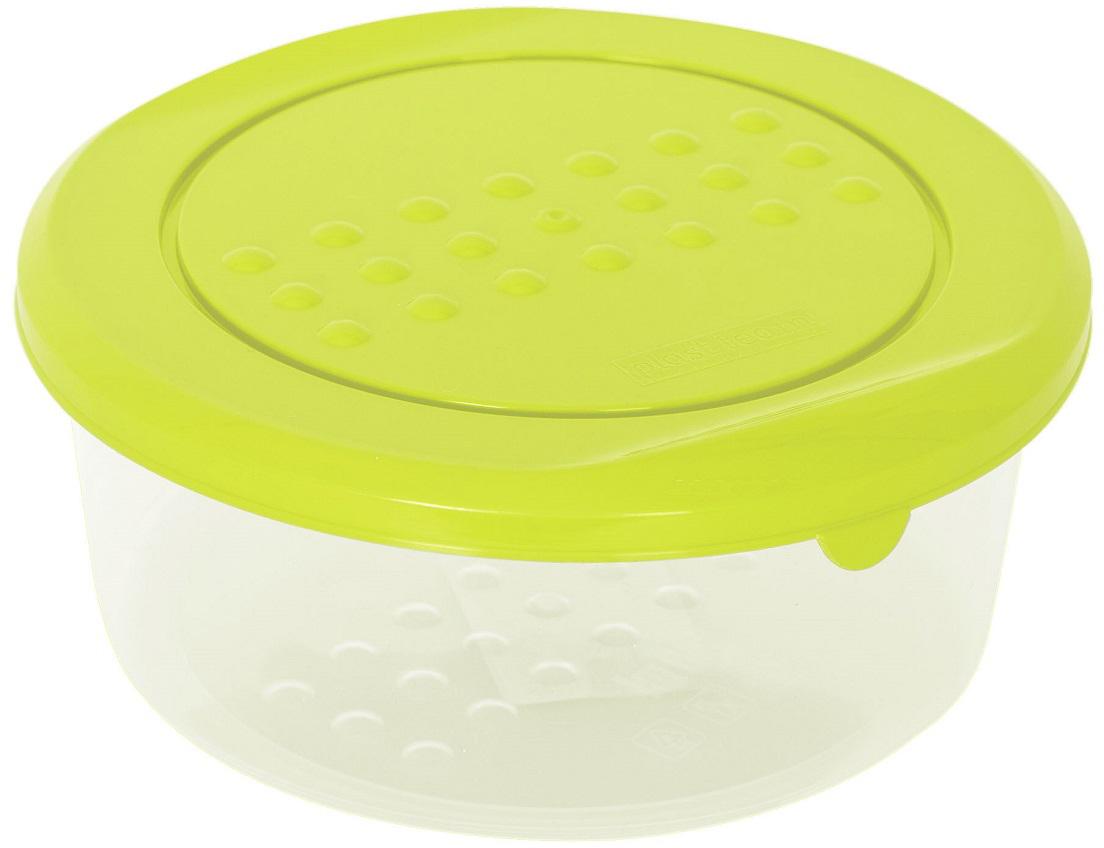 Контейнер пищевой Plast Team Pattern, круглый, цвет: лайм, 500 мл емкость для заморозки и свч curver fresh