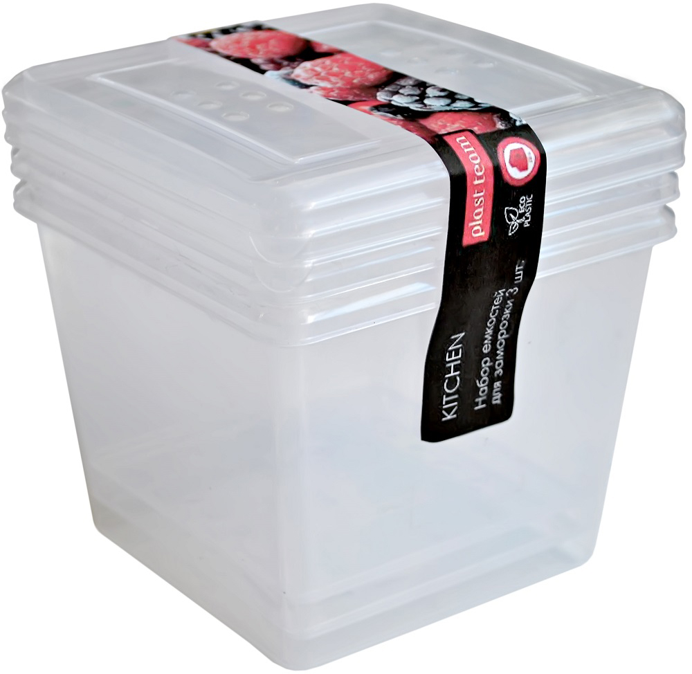 Набор емкостей Plast Team, цвет: натуральный, 1 л, 3 шт набор контейнеров для еды plast team набор круглых емкостей для хранения продуктов pattern plast team 0 5л 3 шт