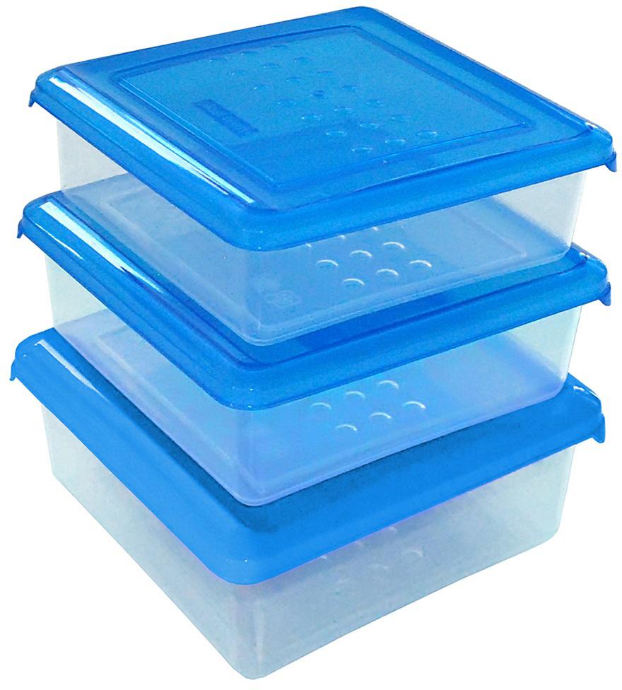 Набор емкостей Plast Team Pattern, цвет: голубой, прозрачный, квадратные, 0,5 л, 3 шт набор контейнеров для еды plast team набор круглых емкостей для хранения продуктов pattern plast team 0 5л 3 шт