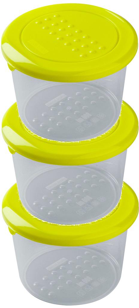 Набор емкостей Plast Team Pattern, цвет: лайм, круглые, 0,8 л, 3 шт набор контейнеров для еды plast team набор круглых емкостей для хранения продуктов pattern plast team 0 5л 3 шт