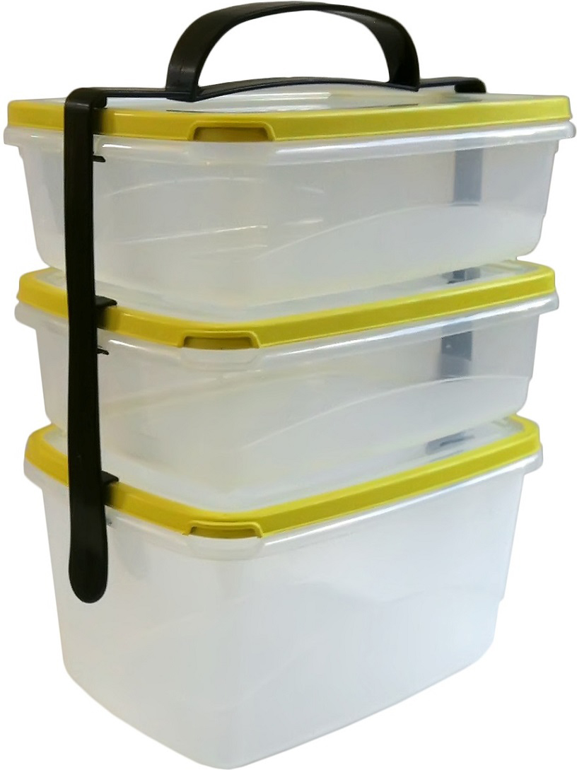 Набор контейнеров, объединенных специальной фиксирующей ручкой, предназначен для  переноски одной рукой сразу нескольких блюд. Узлы фиксации не позволяют крышке открыться,  до тех пор, пока ручка для переноски присоединена к контейнеру. В корпусе контейнера есть  замки, оборудованные боковыми ограничителям, что не позволит ручке съехать вбок. На нижнее  крепление можно установить контейнеры разных объемов. Край застежки плоский и расположен  под небольшим углом, что позволяет легче ухватываться пальцами.
