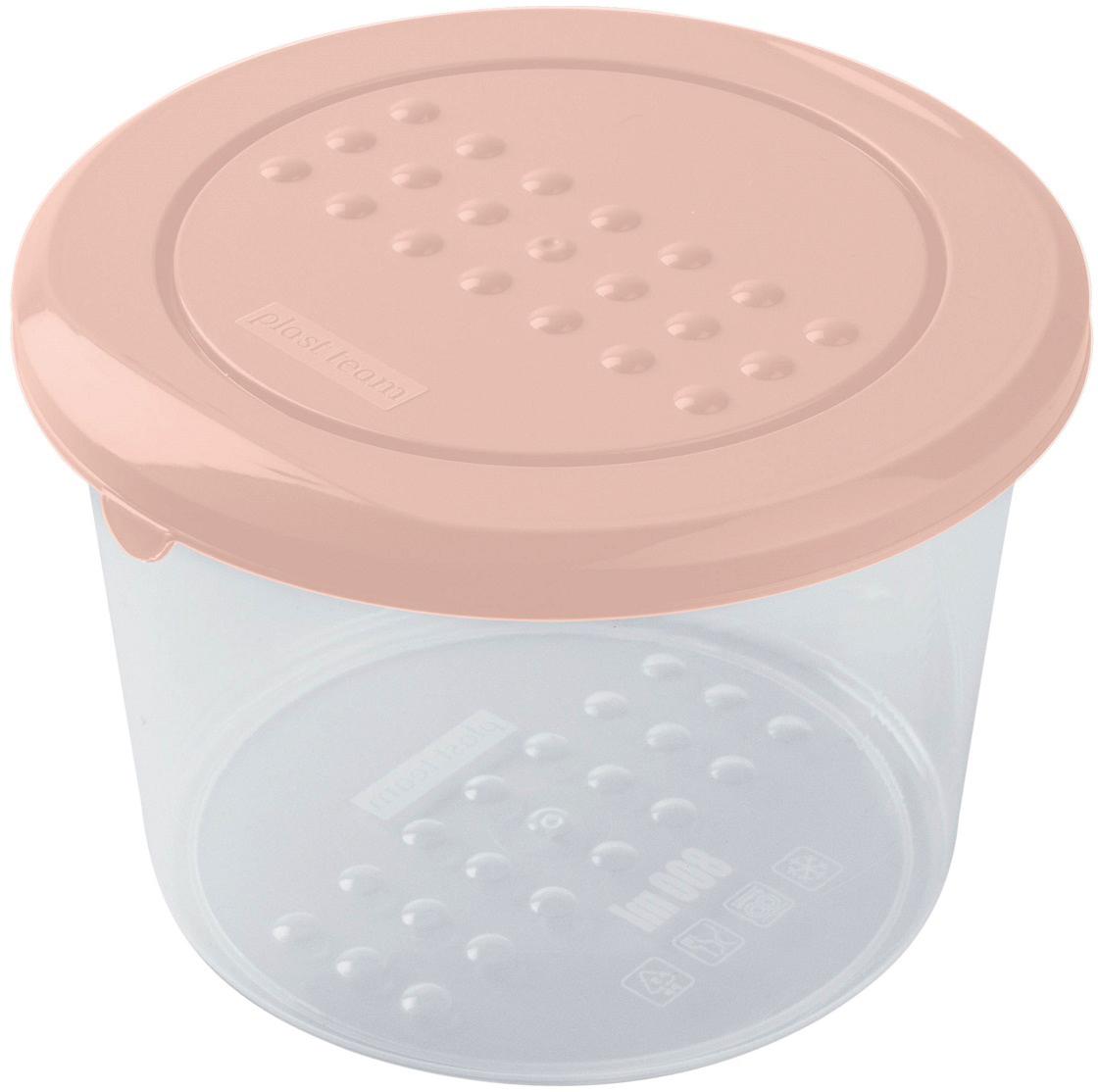 Контейнер пищевой Plast Team Pattern, цвет: пудровый, круглый, 0,8 л емкость для заморозки и свч curver fresh