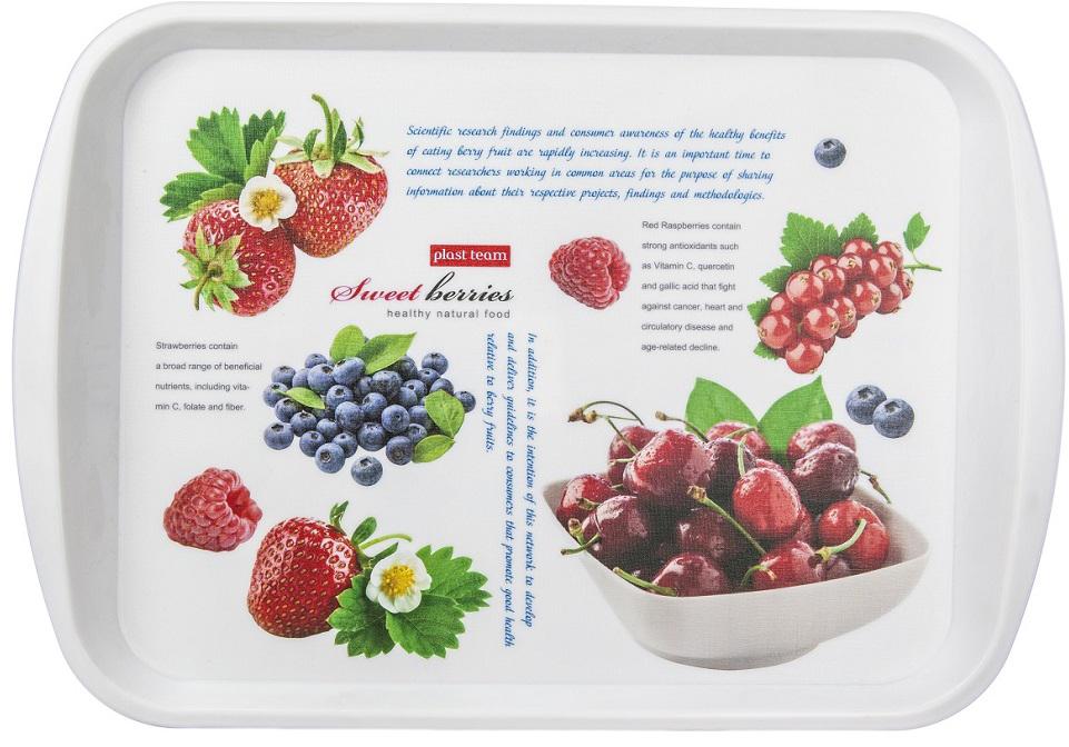 Поднос Plast Team Berry, цвет: белый, прямоугольный, 43,5 х 30,5 х 2,5 см
