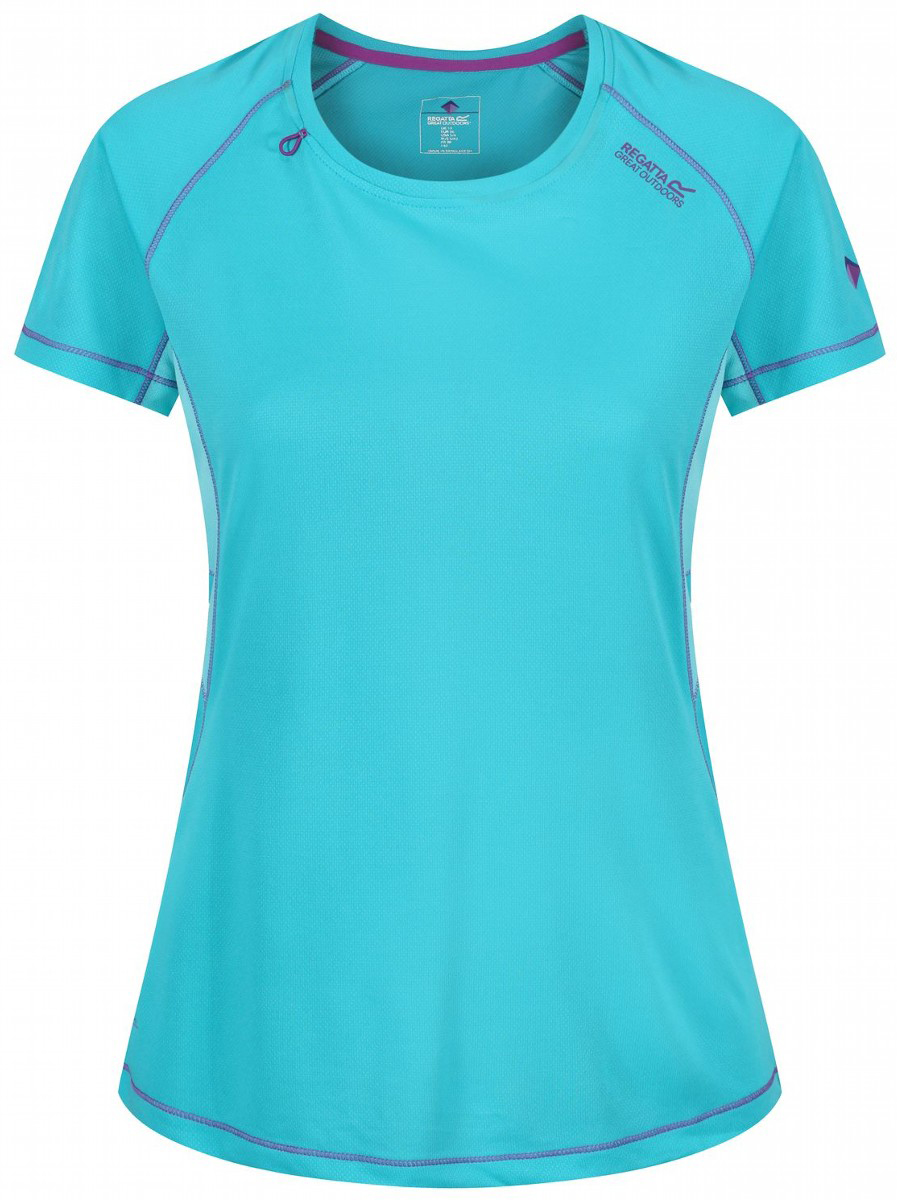 Футболка женская Regatta Wmns Volito II, цвет: бирюзовый. RWT134-0JR. Размер 18 (50) футболка regatta футболка cline