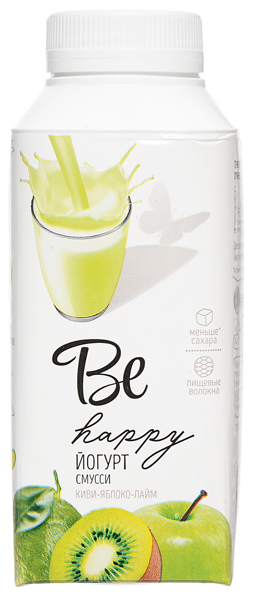 Be Happy Йогурт смусси Киви-Яблоко-Лайм, 2,8%, 330 г temptations creamy dairy flavor treats for cats 16 ounce