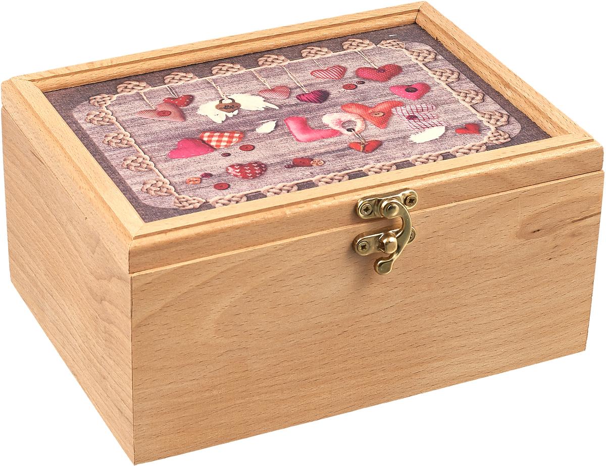 Шкатулка для чая GiftnHome Love, 16,5 х 20,5 смTea-Box LoveШкатулки для хранения любимых мелочей, коробки для чая и сигар внесут дух благородства и солидности в Ваш домашнее пространство, или офисный кабинет! Это прекрасный функциональный подарок Вашему Боссу, друзьям, партнерам по бизнесу, корпоративным клиентам и коллегам по работе. Шкатулки выполнены из Бука, стильные фото-принты нанесены на качественную фанерную вставку, обработанную специальным лаком.
