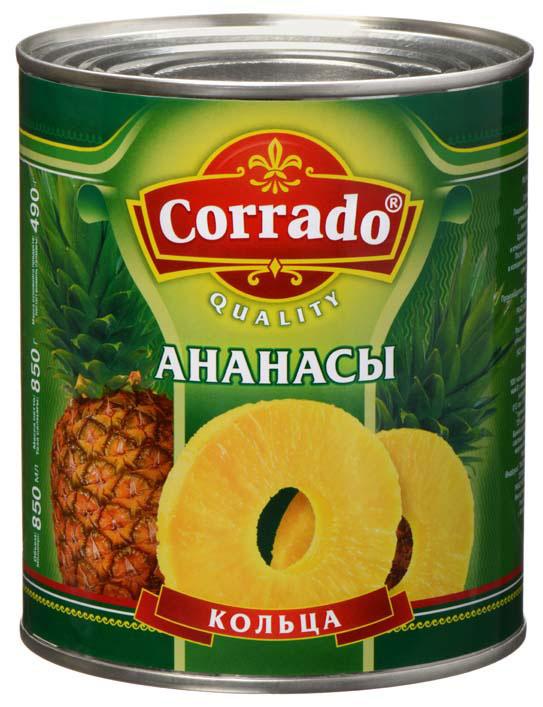 Corrado ананасы кольца, 850 мл lorado персики половинки в легком сиропе 850 мл