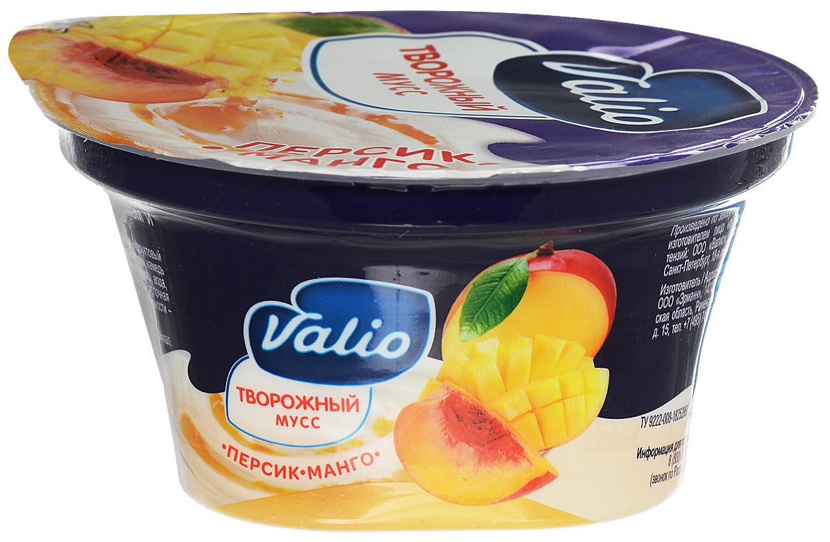 Valio Мусс творожный с персиком и манго, 4%, 110 г сибирские отруби хрустящие сила ягод 100 г