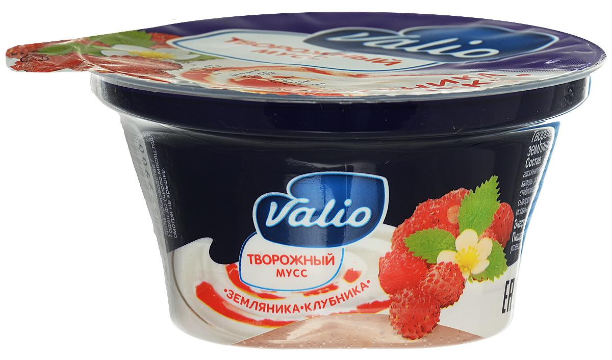 Valio Мусс творожный с клубникой и земляникой, 4%, 110 г витьба вафельные рулетики со вкусом сгущенного молока 110 г