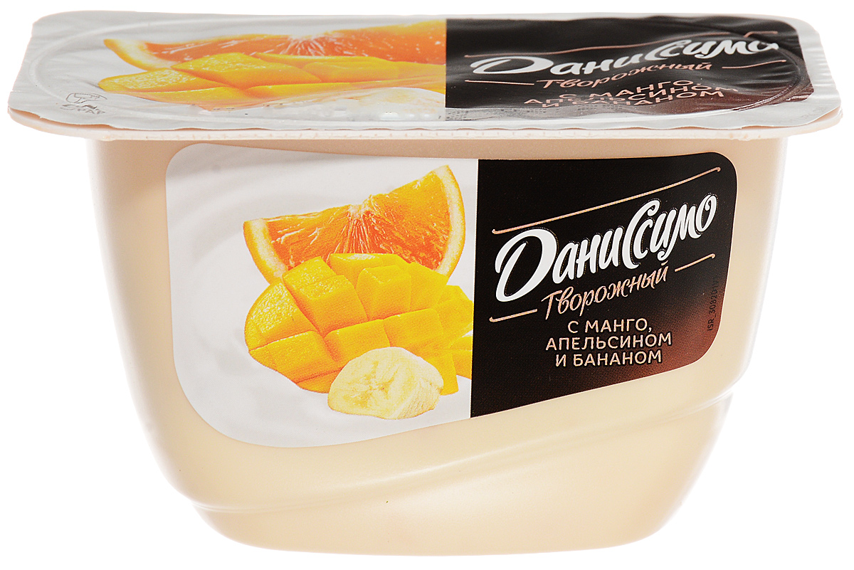 Даниссимо Продукт творожный Манго апельсин банан 5,4%, 130 г99620Продукт творожный Даниссимо с манго апельсином и бананом 5.4% - это нежное кремовое лакомство, сделанное из обезжиренного творога, молока, сливок и тропических фруктов. Взбитый до однородной мягкой консистенции, маложирный и умеренно сладкий, этот творожок заменит вам легкий и полезный перекус в течение дня.