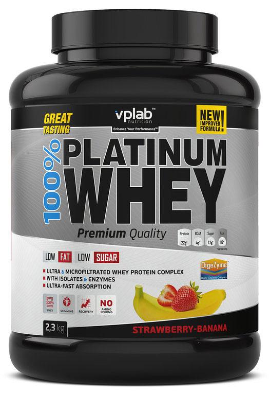 "Протеин VPLab ""100% Platinum Whey"", клубника-банан, 2,3 кг, VP Laboratory"