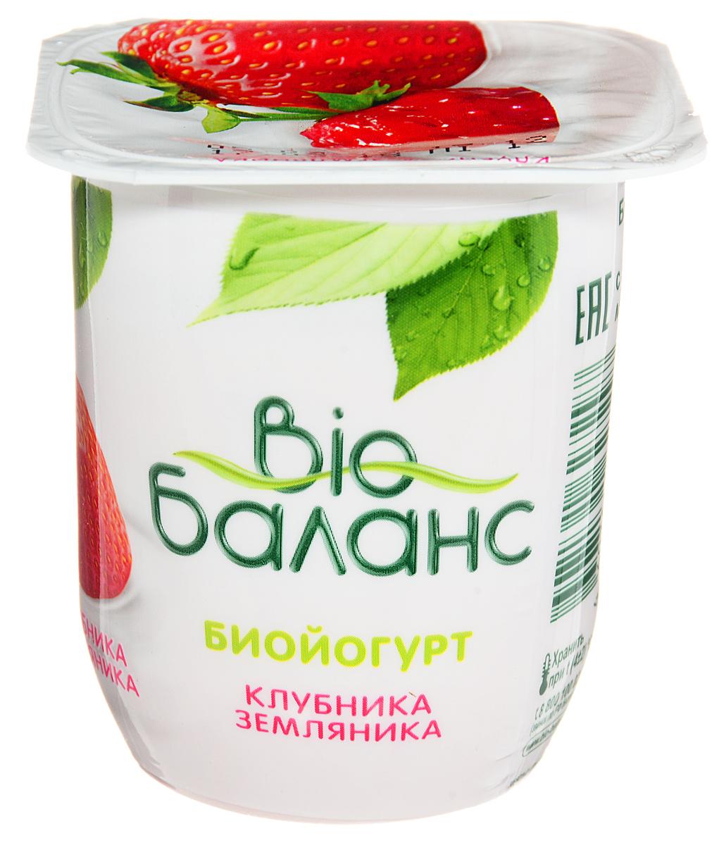 Био-Баланс Биойогурт Клубника земляника Персик банан 2,8%, 125 г сибирские отруби хрустящие сила ягод 100 г