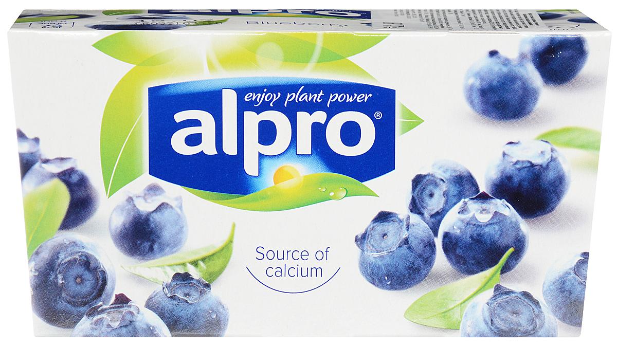 Alpro Йогурт Черничный соевый, обогащенный кальцием и витаминами, 2 шт по 125 г молочный стиль йогурт натуральный 2 5% 125 г