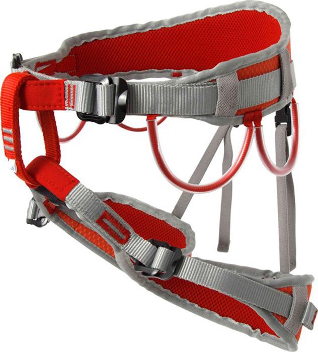 """Альпинистская беседка «Argon F» разработана для альпинистов, скалолазов и туристов. Это модель специально адаптирована под женскую фигуру. Универсальная полностью регулируемая обвязка сшита по технологии «силового каркаса», что позволяет распределить нагрузку на всю площадь пояса и ножных обхватов. Две пряжки """"дуплекс"""" на поясе предназначены для регулирования беседки, а также для правильного позиционирования страховочного кольца. Конструкция включает 4 широкие петли и большое количество слотов для развески снаряжения. Производится в двух размерах.Характеристики:Размер 1:Масса: 400 г Обхват пояса: 50 – 110 смОбхват ног: 44 – 65 смСоответствие: EN 12277Сертификат: СЕ (E-30-20010-15)"""