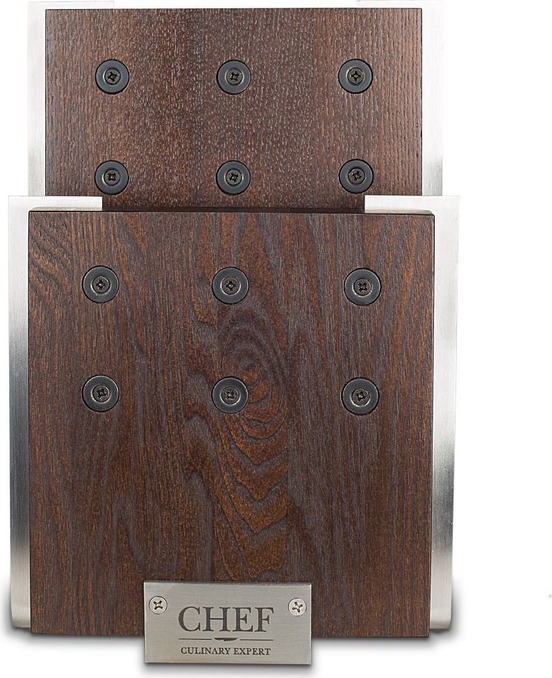 Подставка для 6-ти ножей CHEF, с магнитными держателями, цвет: коричневый. CH-001/BRCH-001/BRМагнитная подставка для ножей не требует специального обслуживания. Идеальная форма изделия позволяет удобно хранить ножи. Две рабочие поверхности выполнены из натурального ясеня с основанием из сверхпрочной нержавеющей стали. Ножи надежно удерживаются на подставке с помощью сильных магнитов. Особая конструкция обеспечивает быстрый доступ к необходимому ножу в любой момент. Изделие отвечает всем современным нормам и стандартам практичности, поскольку изготовлено по самым передовым технологиям. Магниты расположены на поверхности деревянного блока, и рабочая поверхность гарантирует свободную фиксацию.