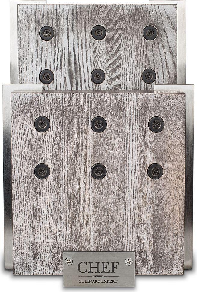 Подставка для 6-ти ножей CHEF, с магнитными держателями, цвет: серый. CH-001/GR подставка для 6 ти ножей chef с магнитными держателями цвет серый ch 001 gr
