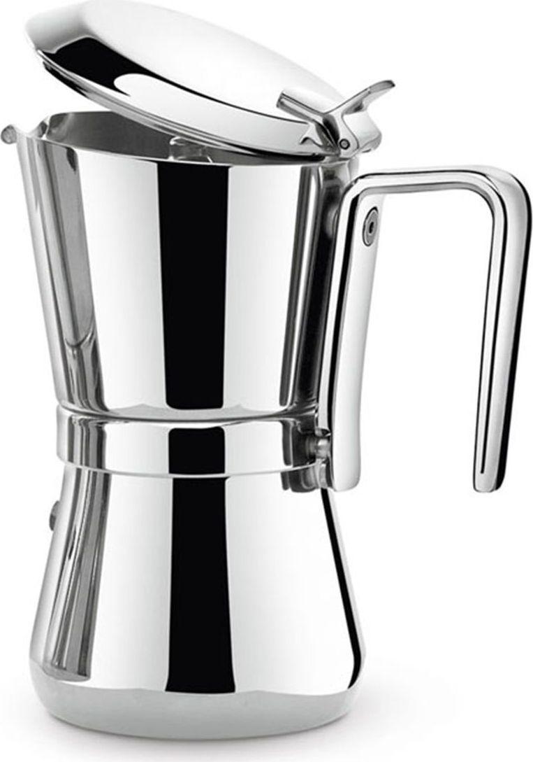 """Гейзерная кофеварка (Мока) """"Giannina"""" - это классический предмет на кухне. Тщательно переработанная и модернизированная дизайнером Ходи Гейзом, она сохранила основу классической кофеварки """"Giannina"""", но получила новые черты, отражающие тенденции 21 века. Она не только стильная, но и чрезвычайно функциональная.  Внутренний фильтр может использоваться для двух разных размеров кофеварок - на три и на шесть чашек. Кроме того, данная кофеварка идеально подходит для индукции. Особенности этой кофеварки в новой элегантной ручке и поворотном механизме, большем удобстве крышки и специальном дне, подходящем для индукции. Она не дешевая, но это идеальное вложение средств, ведь она будет служить вам долгие годы, а ее ценность только вырастет!"""