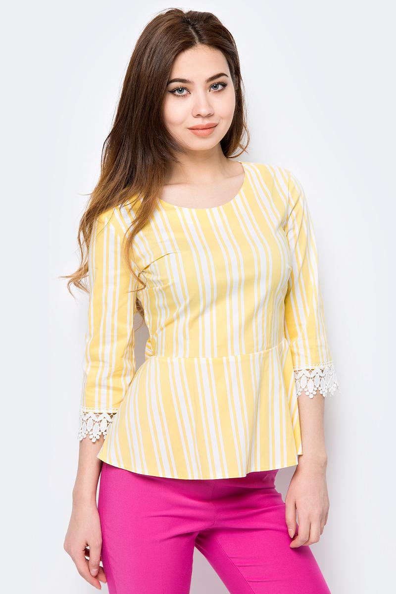 Блузка женская adL, цвет: желтый. 11533898000_004. Размер S (42/44)11533898000_004Женская блузка от adL выполнена из хлопкового материала. Модель с рукавами 3/4 и круглым вырезом горловины на спинке застегивается на потайную молнию и декорирована лентами, завязывающимися в бант. Рукава по низу декорированы ажурными манжетами.