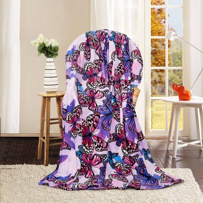 Покрывало Павлина Фиолетовые бабочки, цвет: фиолетовый, 150 х 200 см4660006045885_фиолетовые бабочкиМягкое, пушистое покрывало с женственным дизайном