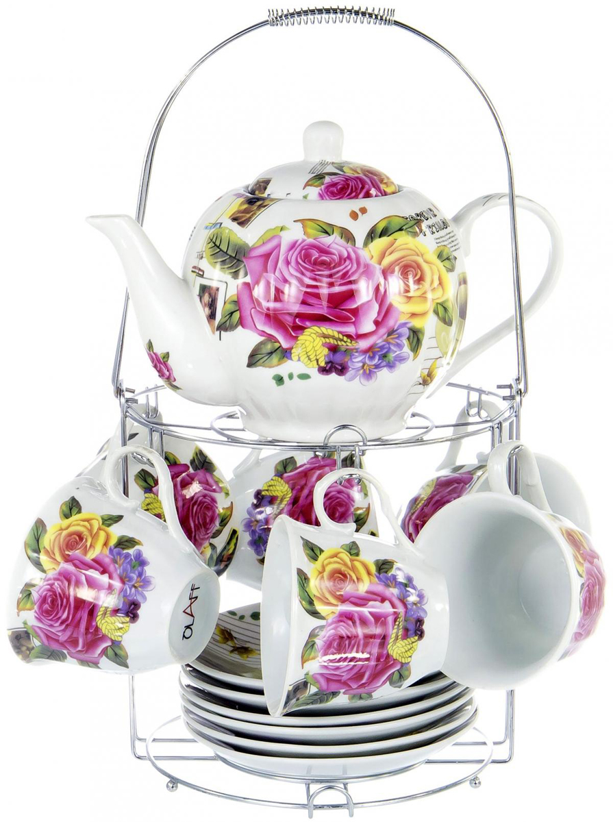 """Чайный набор """"Metal Stand"""" на шесть персон включает в себя шесть чашек 220 мл, шесть блюдец и металлическую подставку для удобного хранения, которая позволит сэкономить место на кухне. Посуда выполнена из качественного фарфора и декорирована жизнерадостным цветочным рисунком. Демократичный набор для повседневного использования и семейных посиделок. METAL STAND, набор чайный (13) 6 чашек 250мл + 6 блюдец + чайник 1000мл на метал.стенде, подарочная упаковка"""