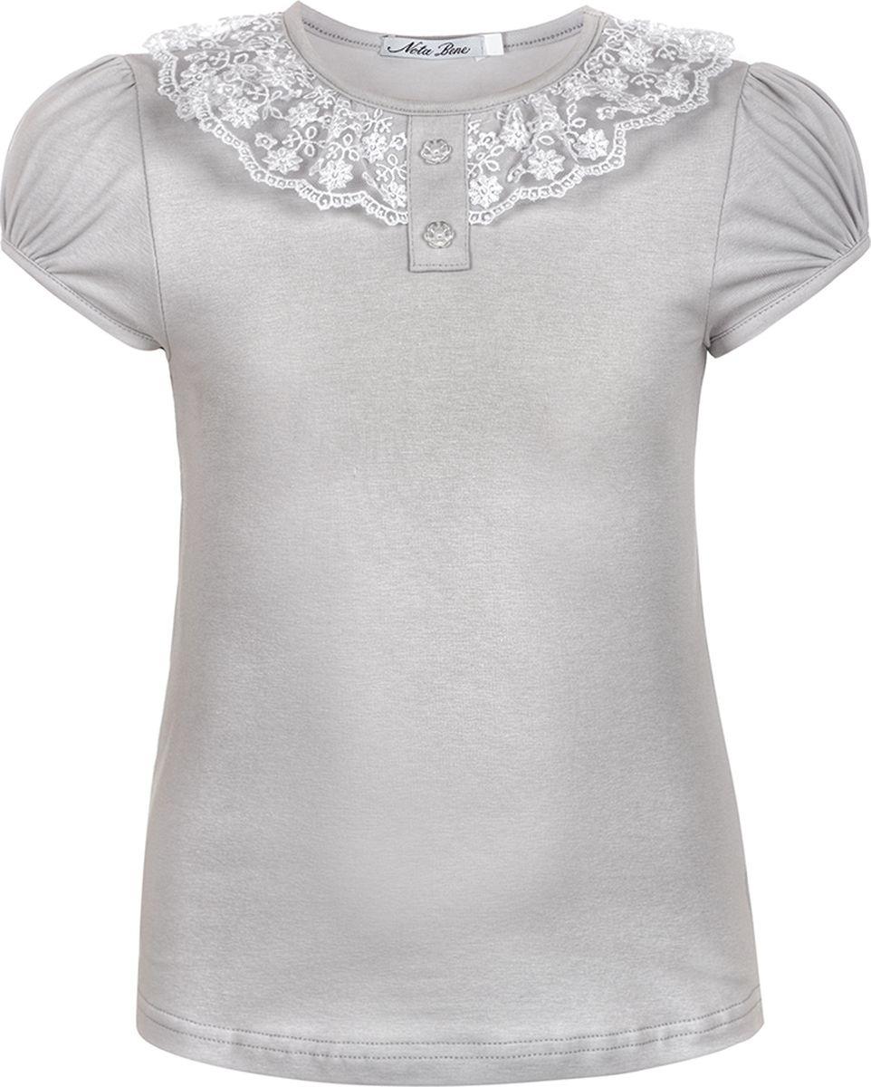 Блузка для девочки Nota Bene, цвет: серый. 5230501_20. Размер 1645230501_20Блузка для девочки из трикотажного полотна с коротким рукавом, прилегающего силуэта средней длины. Вырез горловины округлый с кружевной тесьмой. Рекомендуется предварительная стирка.