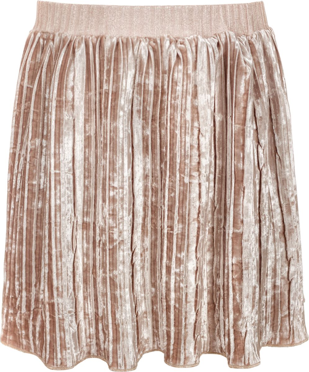 Юбка для девочки M&D, цвет: бежевый. 182220302_18. Размер 104182220302_18Нарядная юбка от M&D из бархатного плиссе, прямого силуэта, длиною выше колена на поясе из трикотажного полотна на резинке. Рекомендуется предварительная стирка.