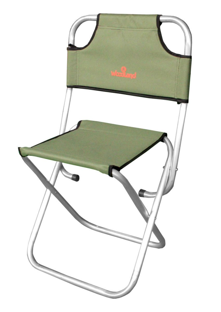 Стул складной Woodland Camp Stool ALU, цвет: оливковый, серебристый, со спинкой, 44 x 30 х 41 (74) см стул складной bushido цвет синий 35 х 28 х 33 см