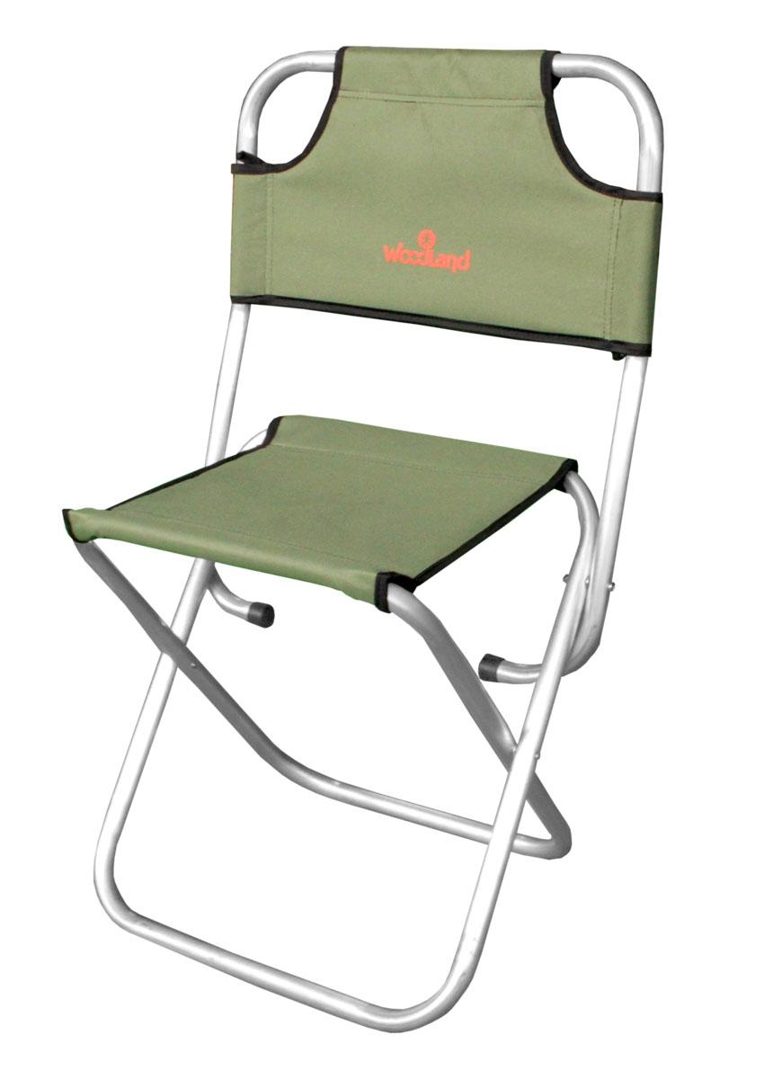 Стул складной Woodland Camp Stool ALU , цвет: оливковый, серебристый, со спинкой, 49 x 35 х 44 (85) см стул складной bushido цвет синий 35 х 28 х 33 см