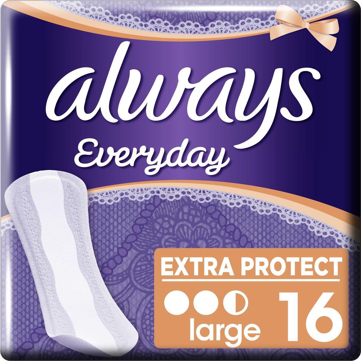 Always Ежедневные гигиенические прокладки на каждый день Удлиненные Single 16 штAL-83736537Ежедневные прокладки Always Dailies Extra Protect Большие помогут сохранить непревзойденную свежесть на протяжении всего дня. Ежедневные прокладки Always Dailies Extra Protect Большие с технологией нейтрализации запаха и впитывающей зоной имеют большую площадь и обеспечивают стойкую свежесть. Идеально подходят при выделениях и в качестве дополнительной защиты при нерегулярной менструации. • До 100% защиты от неприятного запаха• Технология нейтрализации запаха обеспечивает чувство свежести и уверенности в течение всего дня• Боковые защитные зоны ежедневных прокладок обеспечивают усиленную защиту от протеканий• Мягкий верхний слой 2-в-1 обеспечивает дополнительное впитывание, комфорт и мягкость• Тонкие прокладки — надежная защита• Нежный контакт с кожей, протестировано дерматологами• Большая площадь покрытия, чем у прокладок Fresh & Protect Normal