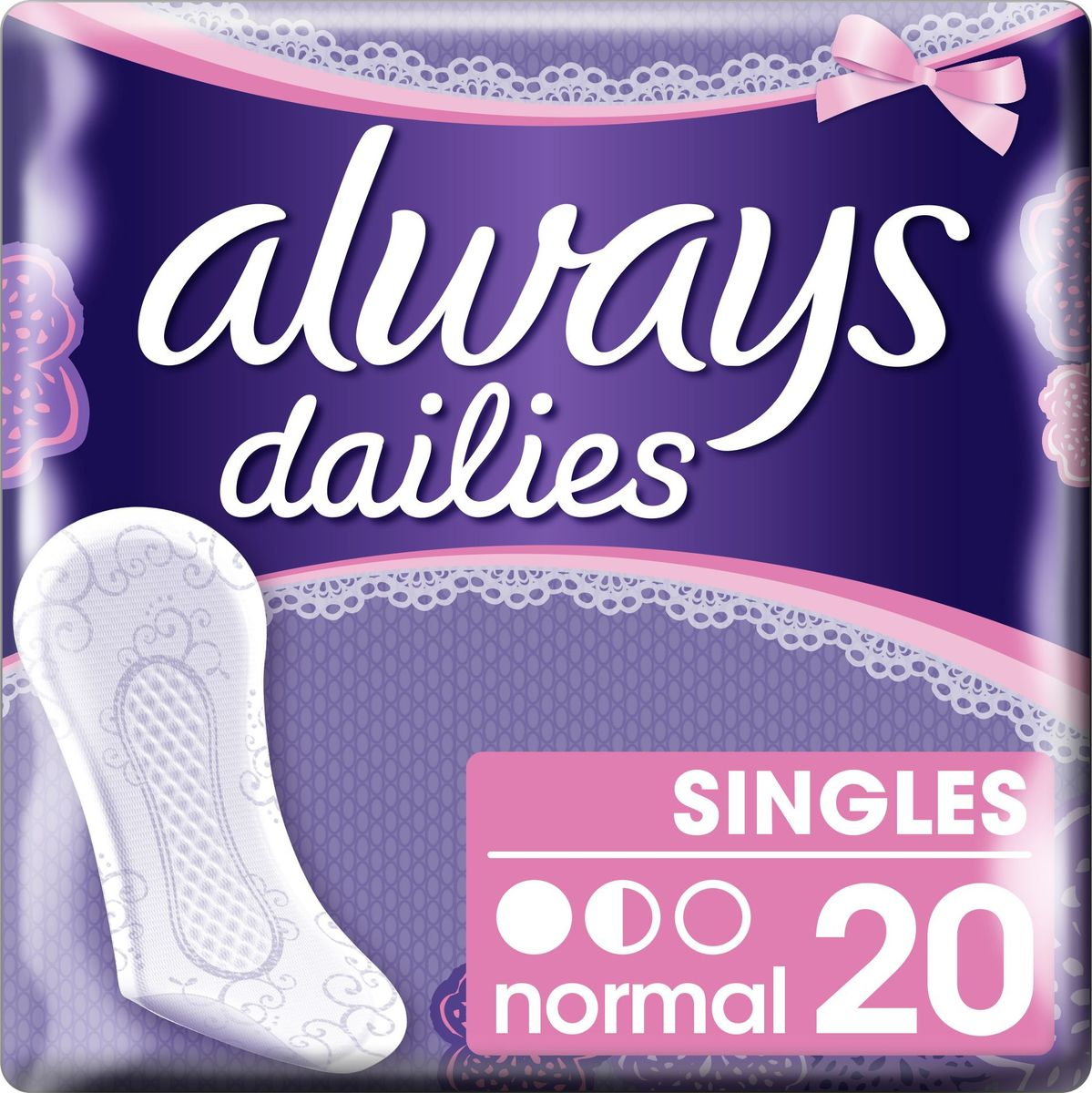 Always Ежедневные гигиенические прокладки на каждый день в индивидуальной упаковке Normal Single 20 шт