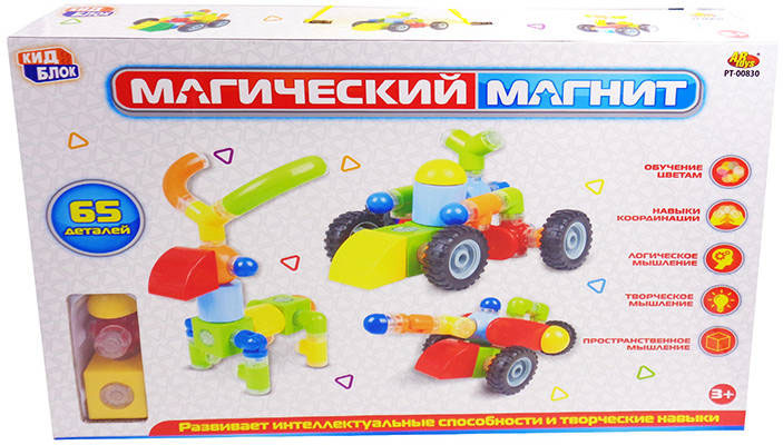 Abtoys Конструктор Магический магнит PT-00830 abtoys abtoys конструктор kidblock со щетинками 150 деталей