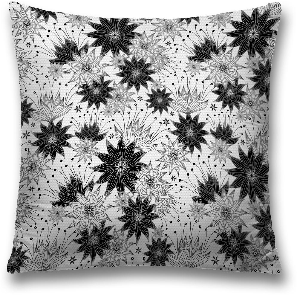 Наволочка декоративная Magic Lady Цветы, цвет: серый, 45 x 45 см наволочка декоративная magic lady черная бабочка цвет белый серый 45 x 45 см