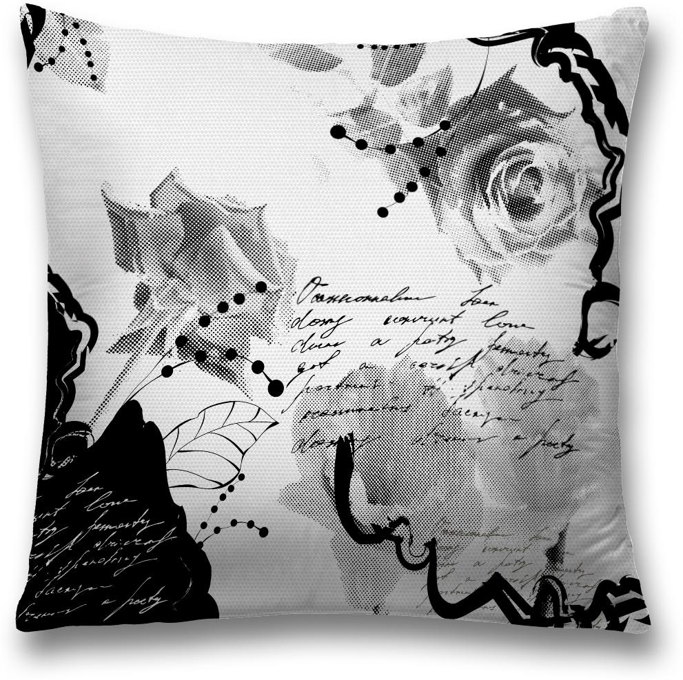Наволочка декоративная Magic Lady Стихи и розы, цвет: серый, 45 x 45 см наволочка декоративная magic lady черная бабочка цвет белый серый 45 x 45 см