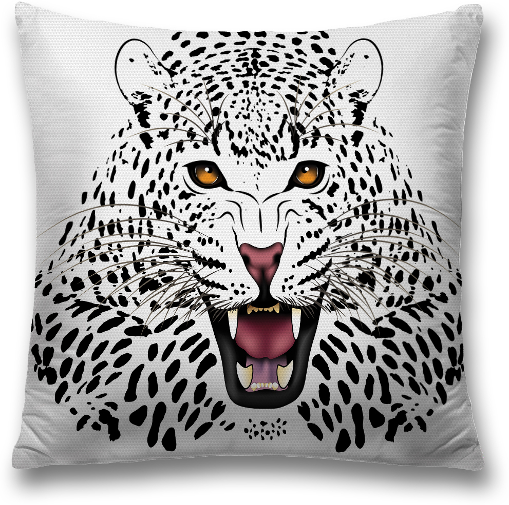 Наволочка декоративная Magic Lady Белый леопард, цвет: белый, черный, 45 x 45 см наволочка декоративная magic lady черная бабочка цвет белый серый 45 x 45 см